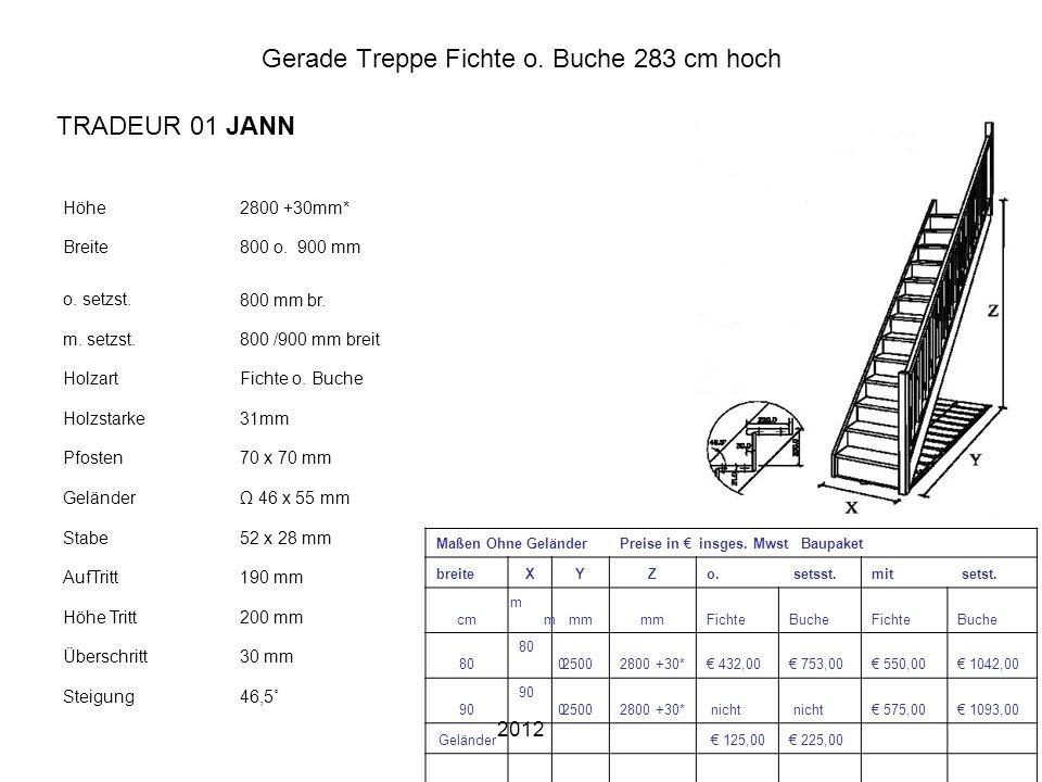 2012 Gerade Treppe Fichte o. Buche 283 cm hoch Höhe2800 +30mm* Breite800 o. 900 mm o. setzst.800 mm br. m. setzst.800 /900 mm breit HolzartFichte o. B