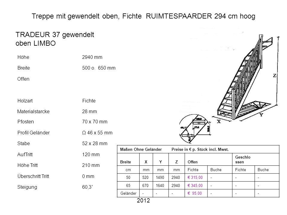 2012 Treppe mit gewendelt oben, Fichte RUIMTESPAARDER 294 cm hoog Höhe2940 mm Breite500 o. 650 mm Offen HolzartFichte Materialstarcke28 mm Pfosten70 x