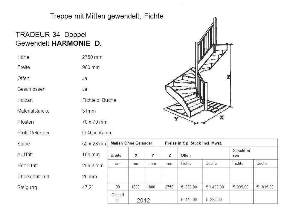 2012 Treppe mit Mitten gewendelt, Fichte o. Buche 285 cm hoog Höhe2750 mm Breite900 mm OffenJa GeschlossenJa HolzartFichte o. Buche Materialstarcke31m