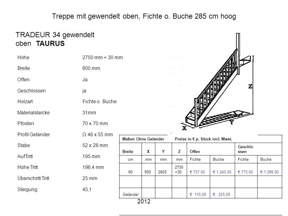2012 Treppe mit gewendelt oben, Fichte o. Buche 285 cm hoog Höhe2750 mm + 30 mm Breite800 mm OffenJa Geschlossenja HolzartFichte o. Buche Materialstar