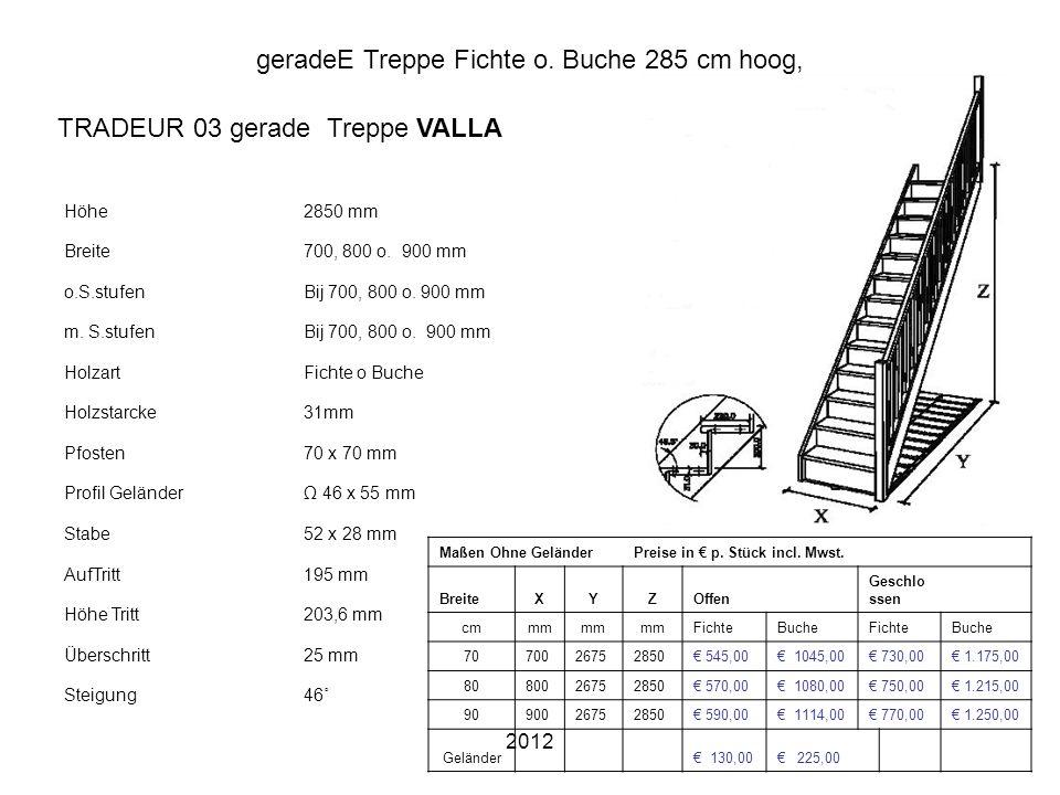 2012 geradeE Treppe Fichte o. Buche 285 cm hoog, Höhe2850 mm Breite700, 800 o. 900 mm o.S.stufenBij 700, 800 o. 900 mm m. S.stufenBij 700, 800 o. 900