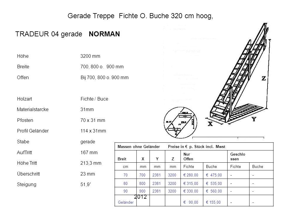 2012 Gerade Treppe Fichte O. Buche 320 cm hoog, Höhe3200 mm Breite700, 800 o. 900 mm OffenBij 700, 800 o. 900 mm HolzartFichte / Buce Materialstarcke3