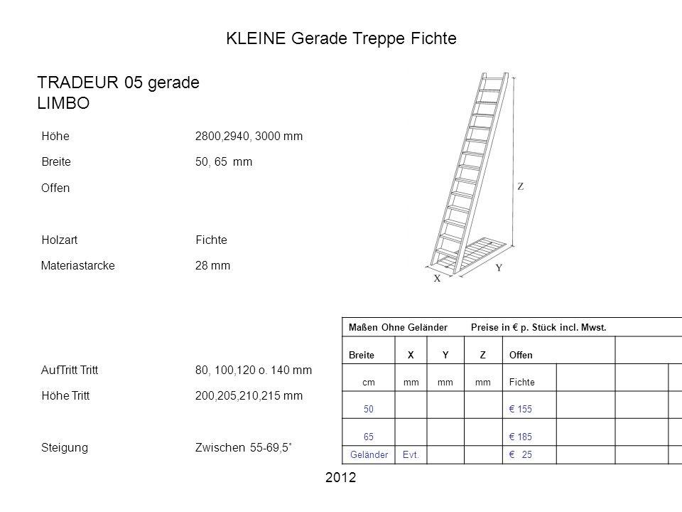 2012 KLEINE Gerade Treppe Fichte Höhe2800,2940, 3000 mm Breite50, 65 mm Offen HolzartFichte Materiastarcke28 mm AufTritt Tritt80, 100,120 o. 140 mm Hö