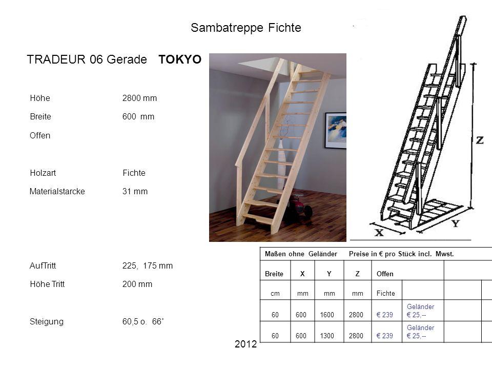 2012 Sambatreppe Fichte Höhe2800 mm Breite600 mm Offen HolzartFichte Materialstarcke31 mm AufTritt225, 175 mm Höhe Tritt200 mm Steigung60,5 o. 66˚ Maß