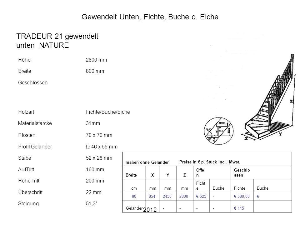2012 Gewendelt Unten, Fichte, Buche o. Eiche Höhe2800 mm Breite800 mm Geschlossen HolzartFichte/Buche/Eiche Materialstarcke31mm Pfosten70 x 70 mm Prof