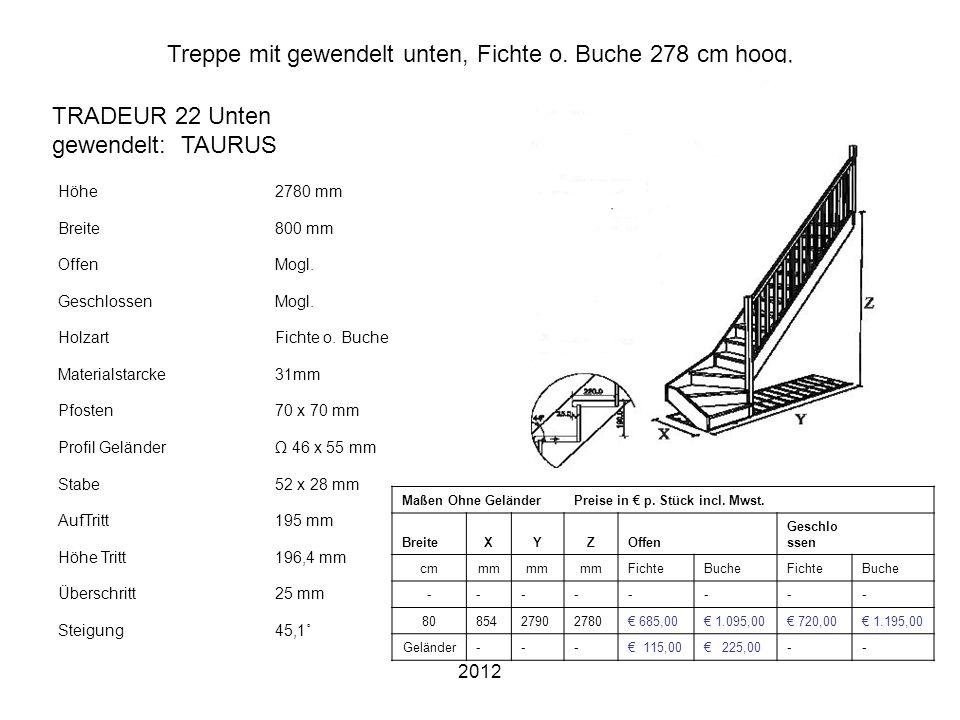 2012 Treppe mit gewendelt unten, Fichte o. Buche 278 cm hoog, Höhe2780 mm Breite800 mm OffenMogl. GeschlossenMogl. HolzartFichte o. Buche Materialstar