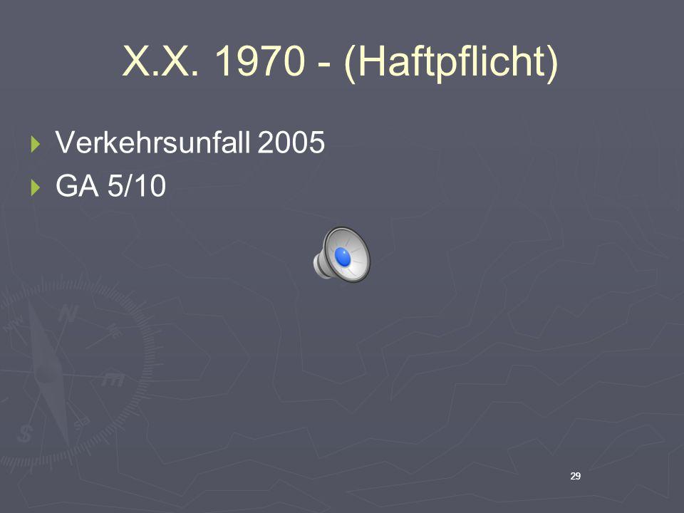 29 X.X. 1970 - (Haftpflicht)  Verkehrsunfall 2005  GA 5/10 29