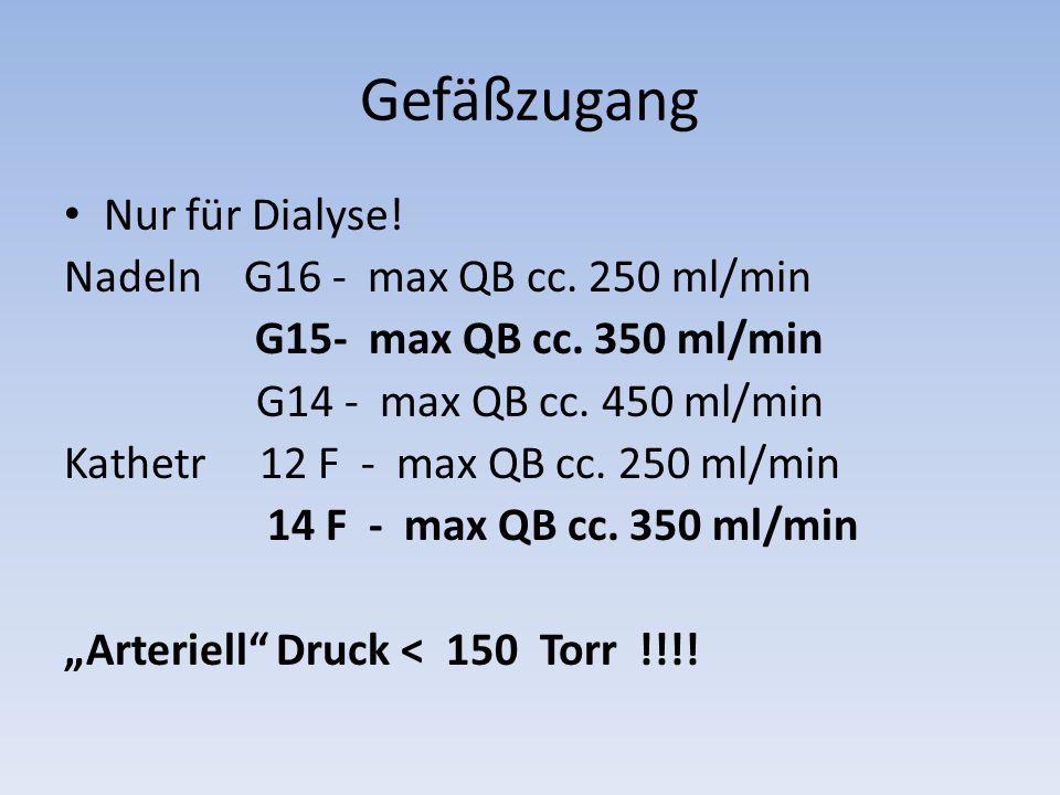 Gefäßzugang Nur für Dialyse.Nadeln G16 - max QB cc.