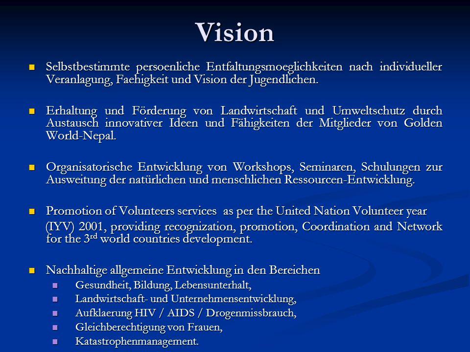 Vision Selbstbestimmte persoenliche Entfaltungsmoeglichkeiten nach individueller Veranlagung, Faehigkeit und Vision der Jugendlichen.