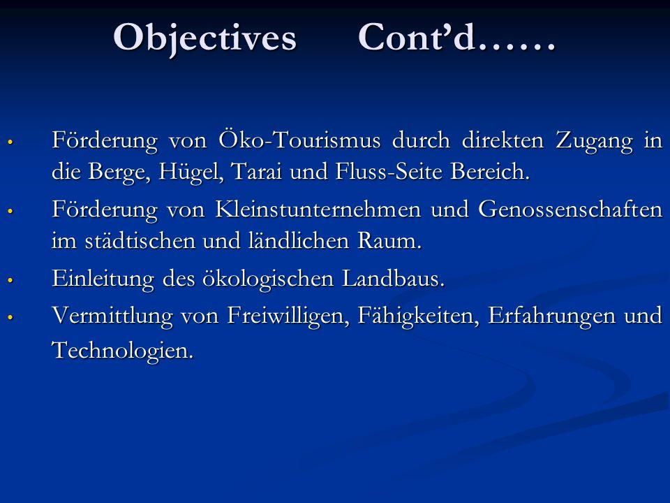 Objectives Cont'd…… Förderung von Öko-Tourismus durch direkten Zugang in die Berge, Hügel, Tarai und Fluss-Seite Bereich.