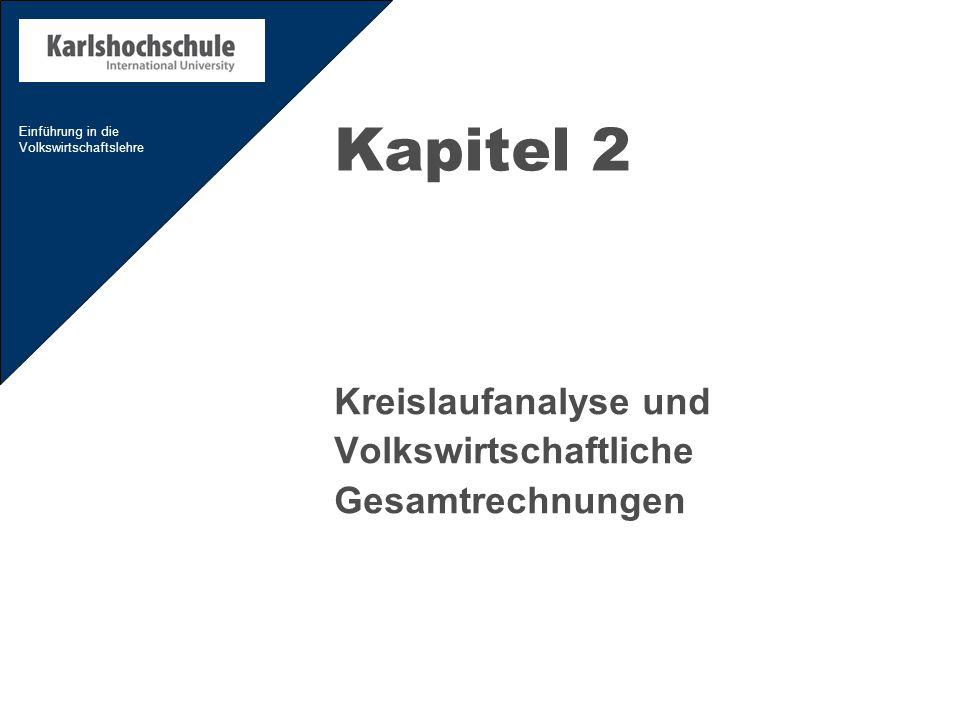 Einführung in die Volkswirtschaftslehre Kapitel 2 Kreislaufanalyse und Volkswirtschaftliche Gesamtrechnungen