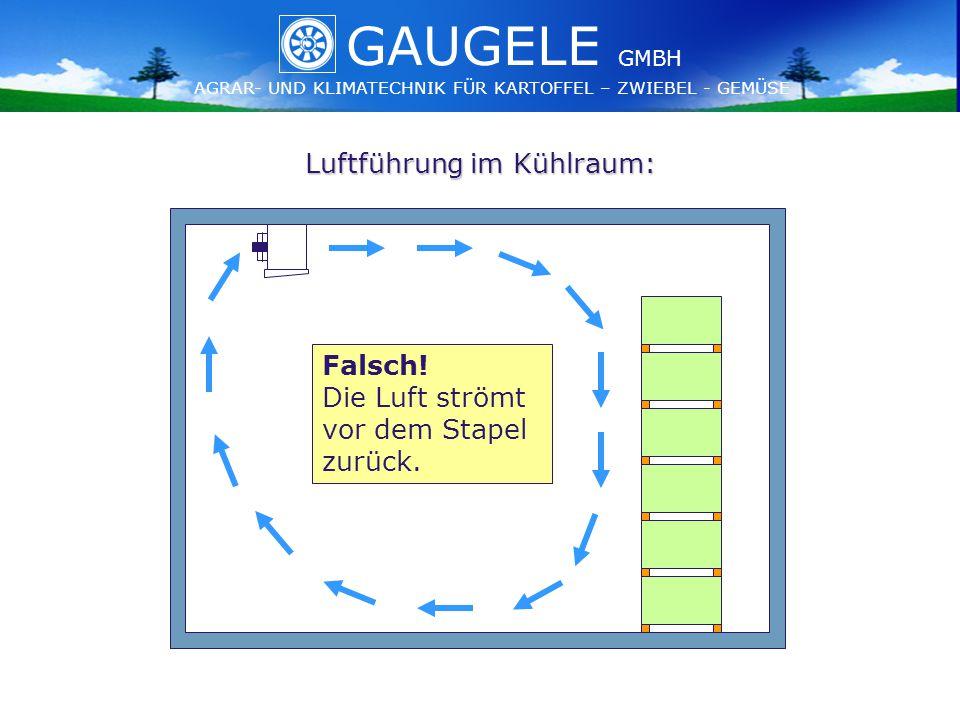 GAUGELE AGRAR- UND KLIMATECHNIK FÜR KARTOFFEL – ZWIEBEL - GEMÜSE GMBH GAUGELE AGRAR- UND KLIMATECHNIK FÜR KARTOFFEL – ZWIEBEL - GEMÜSE GMBH Luftführung im Kühlraum: Falsch.