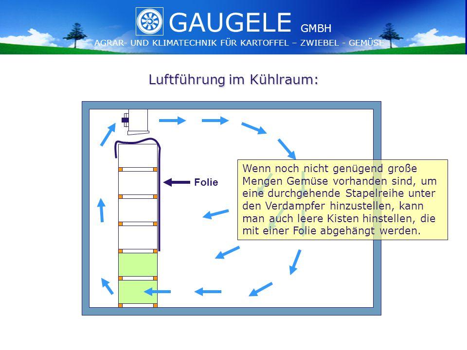 GAUGELE AGRAR- UND KLIMATECHNIK FÜR KARTOFFEL – ZWIEBEL - GEMÜSE GMBH GAUGELE AGRAR- UND KLIMATECHNIK FÜR KARTOFFEL – ZWIEBEL - GEMÜSE GMBH Luftführung im Kühlraum: Folie Wenn noch nicht genügend große Mengen Gemüse vorhanden sind, um eine durchgehende Stapelreihe unter den Verdampfer hinzustellen, kann man auch leere Kisten hinstellen, die mit einer Folie abgehängt werden.