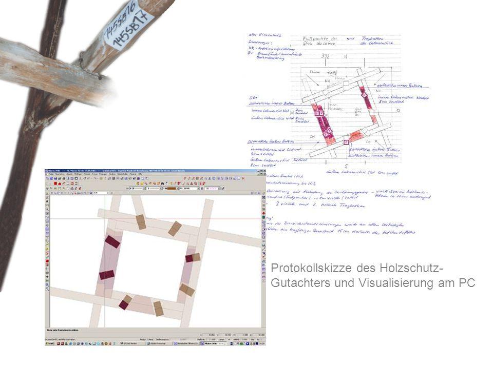 Protokollskizze des Holzschutz- Gutachters und Visualisierung am PC