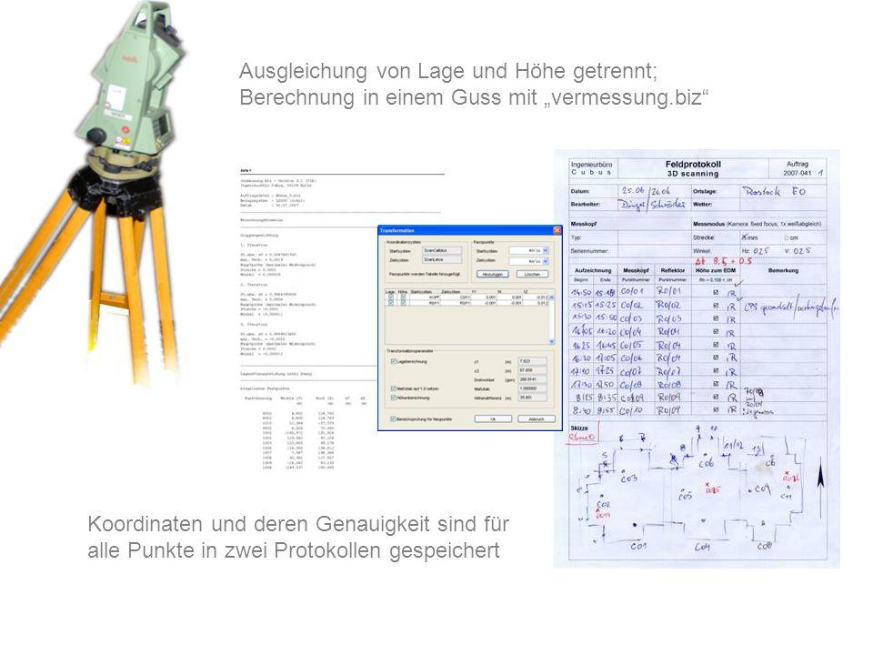 Koordinaten und deren Genauigkeit sind für alle Punkte in zwei Protokollen gespeichert Ausgleichung von Lage und Höhe getrennt; Berechnung in einem Gu