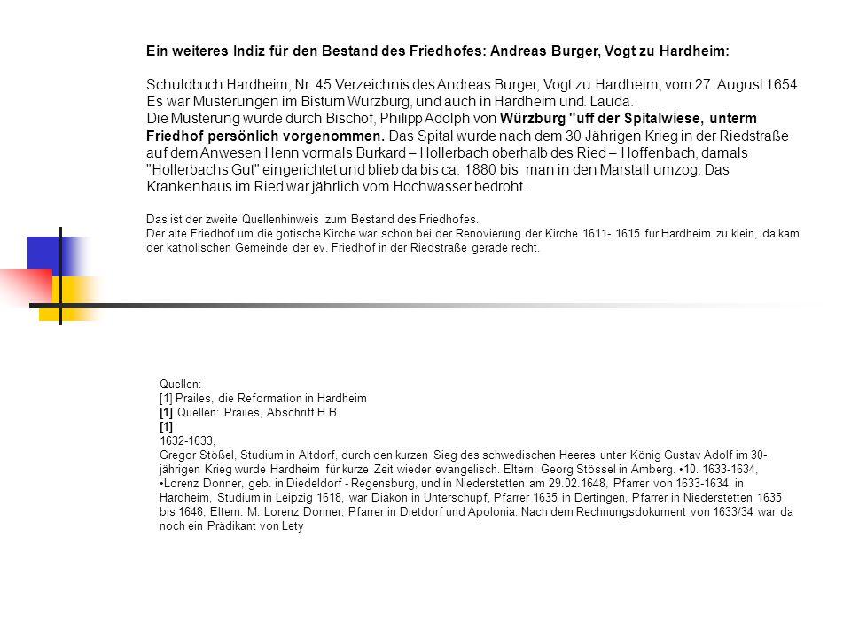 Ein weiteres Indiz für den Bestand des Friedhofes: Andreas Burger, Vogt zu Hardheim: Schuldbuch Hardheim, Nr. 45:Verzeichnis des Andreas Burger, Vogt