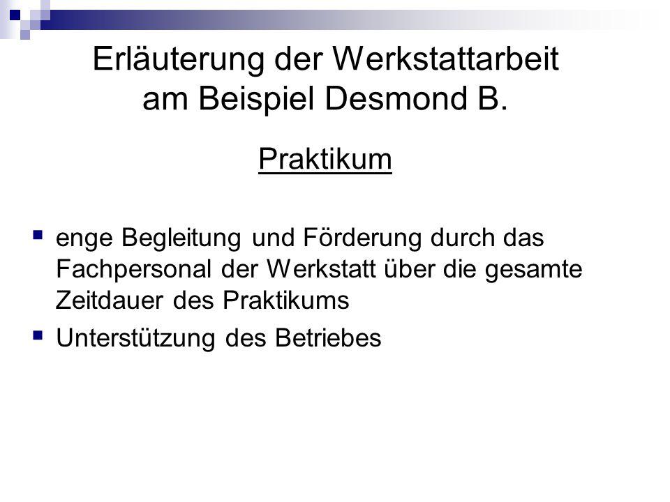 Erläuterung der Werkstattarbeit am Beispiel Desmond B.