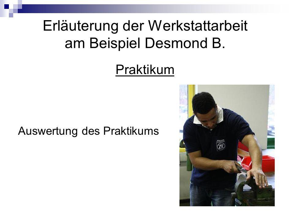 Erläuterung der Werkstattarbeit am Beispiel Desmond B. Praktikum Auswertung des Praktikums