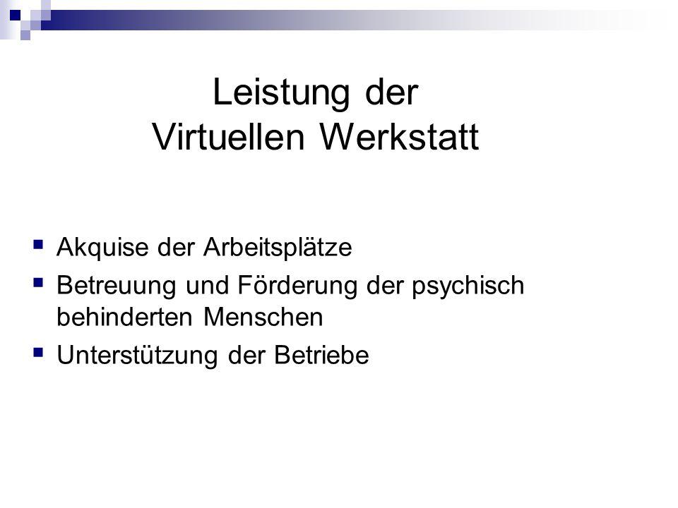 Leistung der Virtuellen Werkstatt  Akquise der Arbeitsplätze  Betreuung und Förderung der psychisch behinderten Menschen  Unterstützung der Betriebe