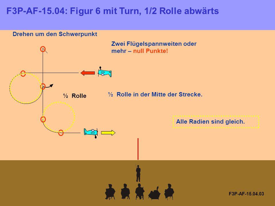 F3P-AF-15.04.03 Drehen um den Schwerpunkt ½ Rolle Zwei Flügelspannweiten oder mehr – null Punkte.