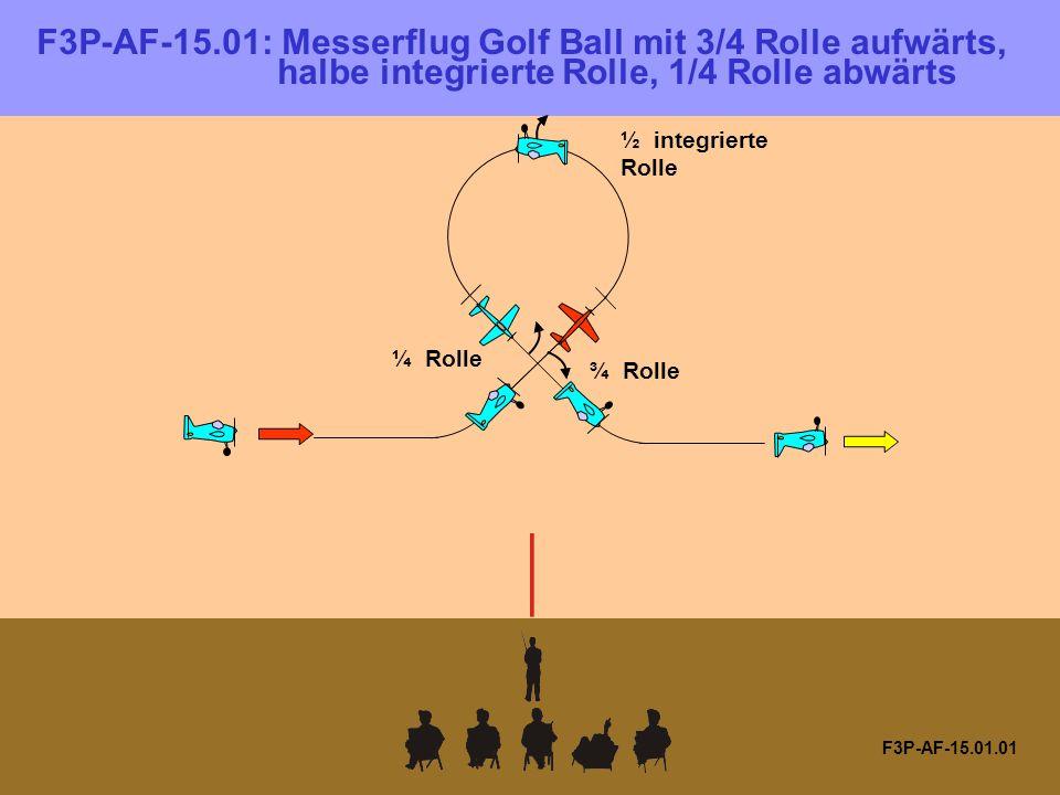 F3P-AF-15.01: Messerflug Golf Ball mit 3/4 Rolle aufwärts, halbe integrierte Rolle, 1/4 Rolle abwärts F3P-AF-15.01.01 ¾ Rolle ¼ Rolle ½ integrierte Rolle