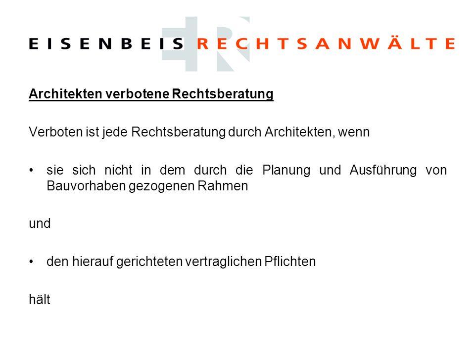 Beratungspflichten in der Vorplanung (LP2) Der Architekt (Planer) schuldet im Rahmen der Vorplanung eine Beratung über bauplanungs- und bauordnungsrechtliche Fragen ⇒A.
