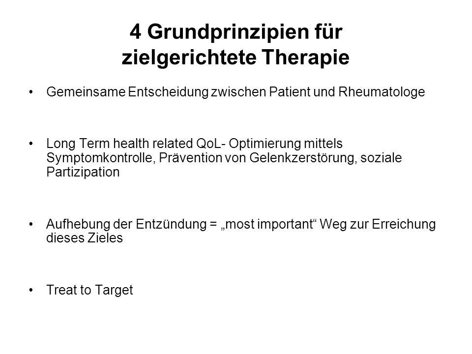 """EULAR-Empfehlungen zur Therapie Übergreifende allgemeine Prinzipien Rheumatologen sind die Experten für RA-Patienten Basis der Theapie ist die """"shared decision zwischen Patient und Rheumatologe RA ist teuer im Hinblick auf Medikamente und Produktivität, dies muss in die Entscheidungen miteinfließen"""