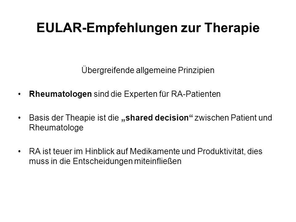 """EULAR-Empfehlungen zur Therapie Übergreifende allgemeine Prinzipien Rheumatologen sind die Experten für RA-Patienten Basis der Theapie ist die """"shared"""
