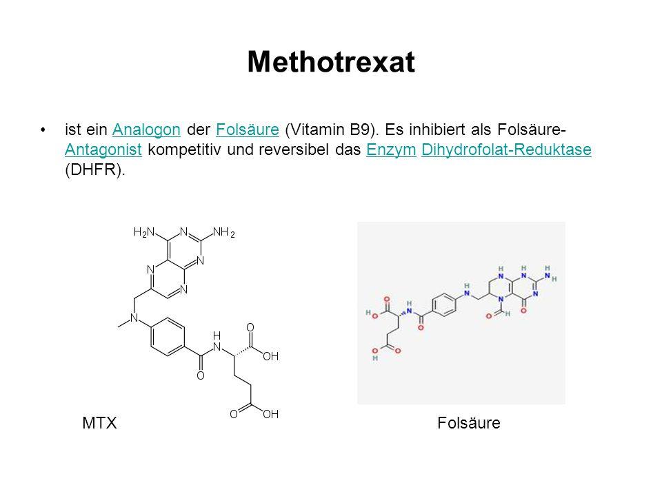 Methotrexat ist ein Analogon der Folsäure (Vitamin B9). Es inhibiert als Folsäure- Antagonist kompetitiv und reversibel das Enzym Dihydrofolat-Redukta