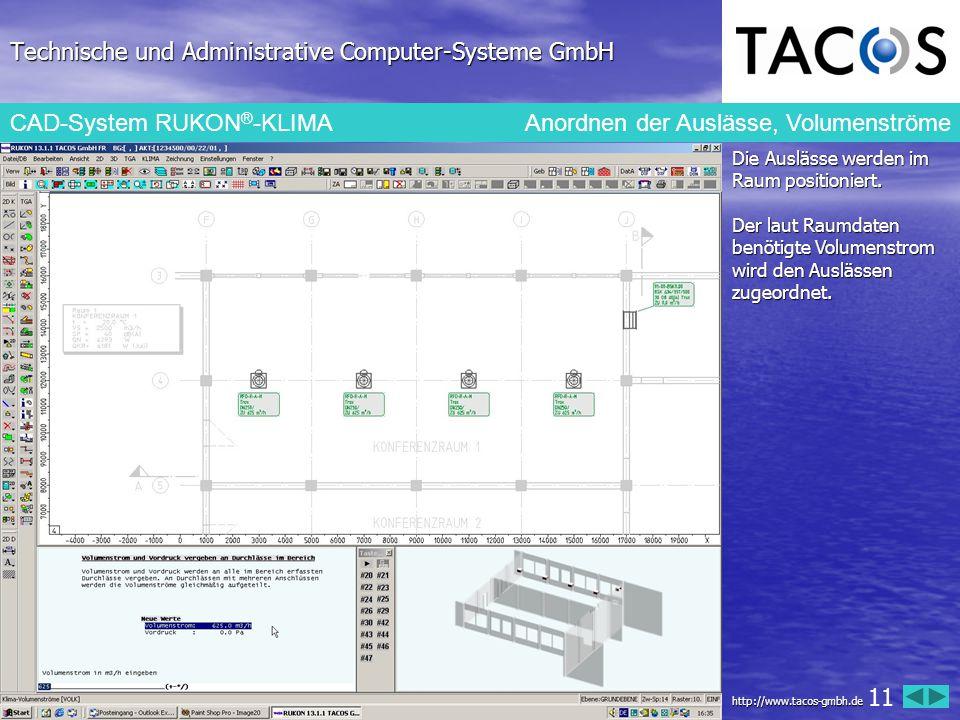 Technische und Administrative Computer-Systeme GmbH CAD-System RUKON ® -KLIMAAnordnen der Auslässe, Volumenströme Die Auslässe werden im Raum position