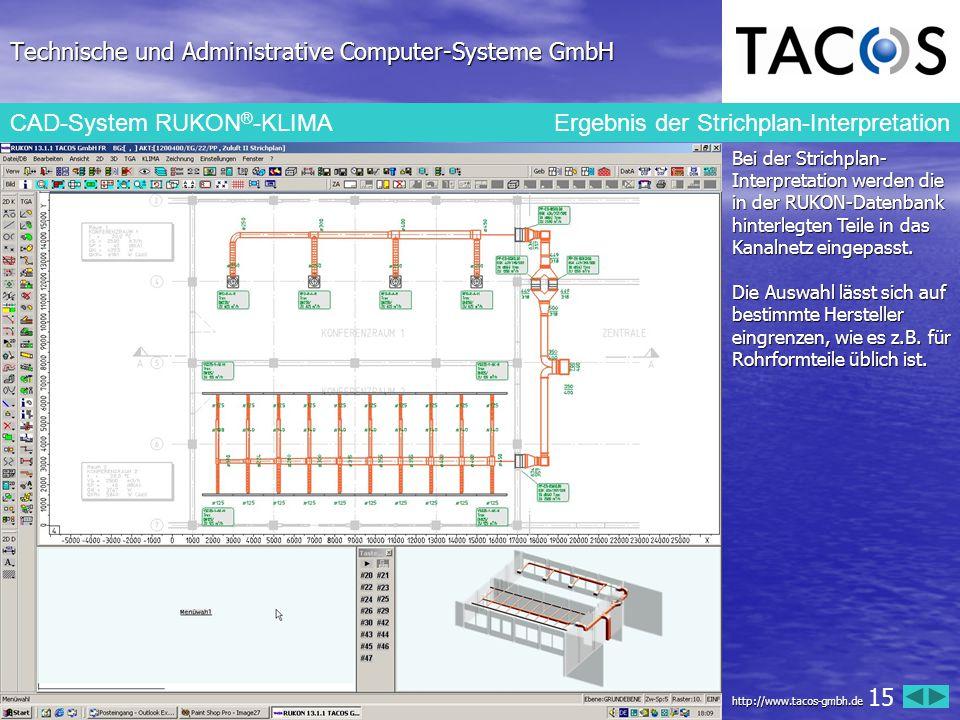 Technische und Administrative Computer-Systeme GmbH CAD-System RUKON ® -KLIMAErgebnis der Strichplan-Interpretation Bei der Strichplan- Interpretation