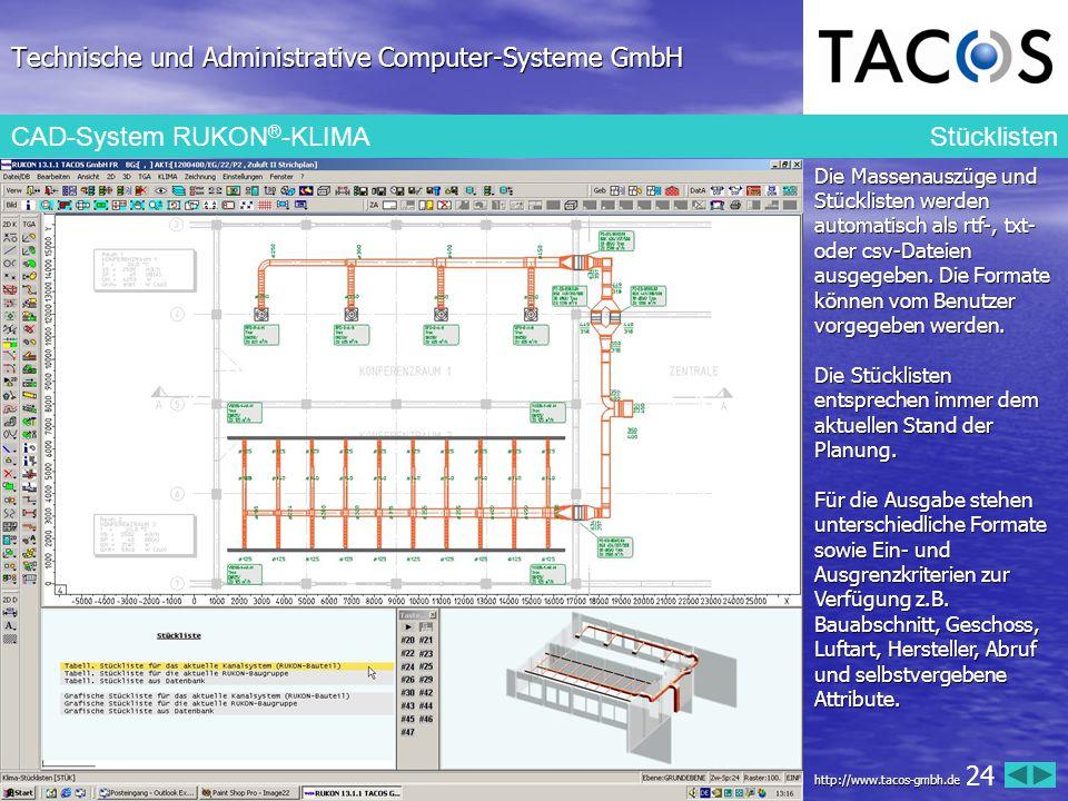 Technische und Administrative Computer-Systeme GmbH CAD-System RUKON ® -KLIMA Stücklisten Die Massenauszüge und Stücklisten werden automatisch als rtf