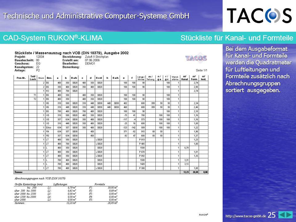 Technische und Administrative Computer-Systeme GmbH CAD-System RUKON ® -KLIMA Stückliste für Kanal- und Formteile Bei dem Ausgabeformat für Kanal- und