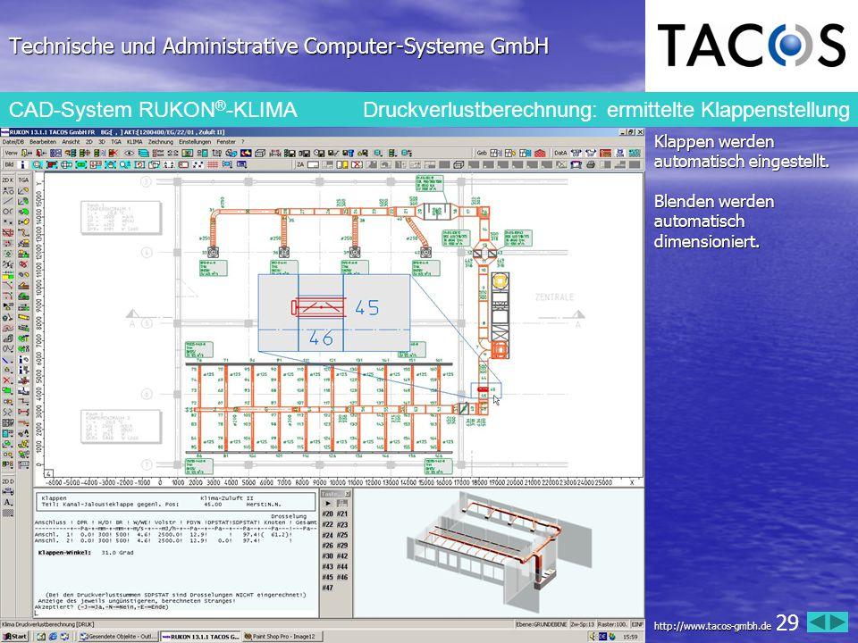 Technische und Administrative Computer-Systeme GmbH CAD-System RUKON ® -KLIMA Druckverlustberechnung: ermittelte Klappenstellung Klappen werden automa