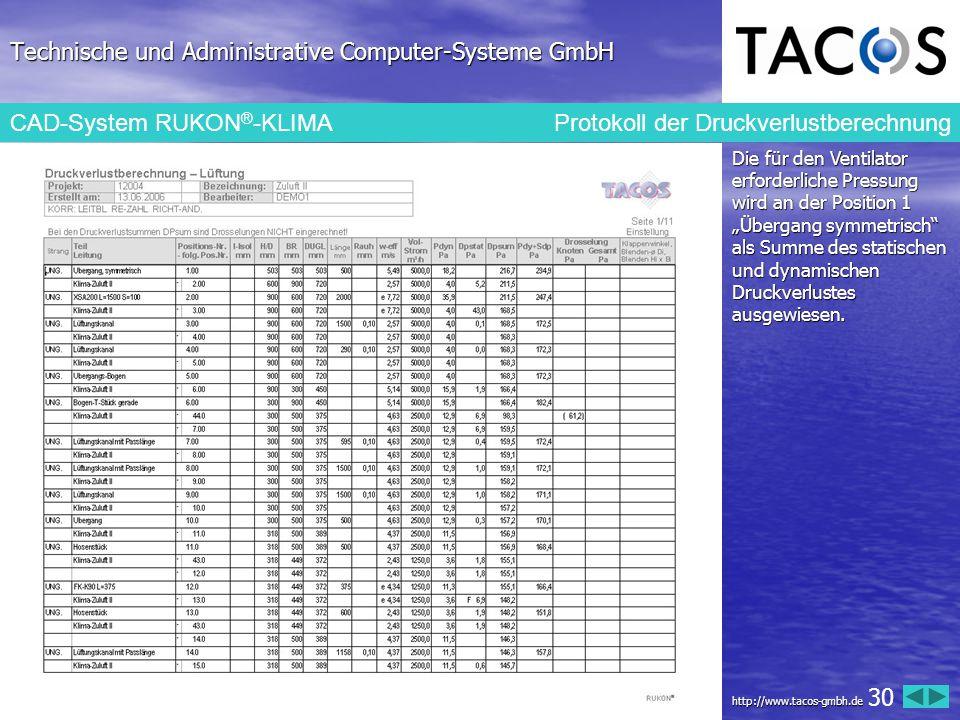 Technische und Administrative Computer-Systeme GmbH CAD-System RUKON ® -KLIMA Protokoll der Druckverlustberechnung Die für den Ventilator erforderlich