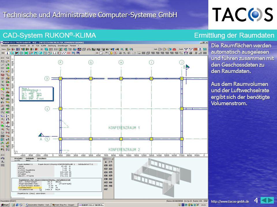 Technische und Administrative Computer-Systeme GmbH CAD-System RUKON ® -KLIMA Ermittlung der Raumdaten Die Raumflächen werden automatisch ausgelesen u