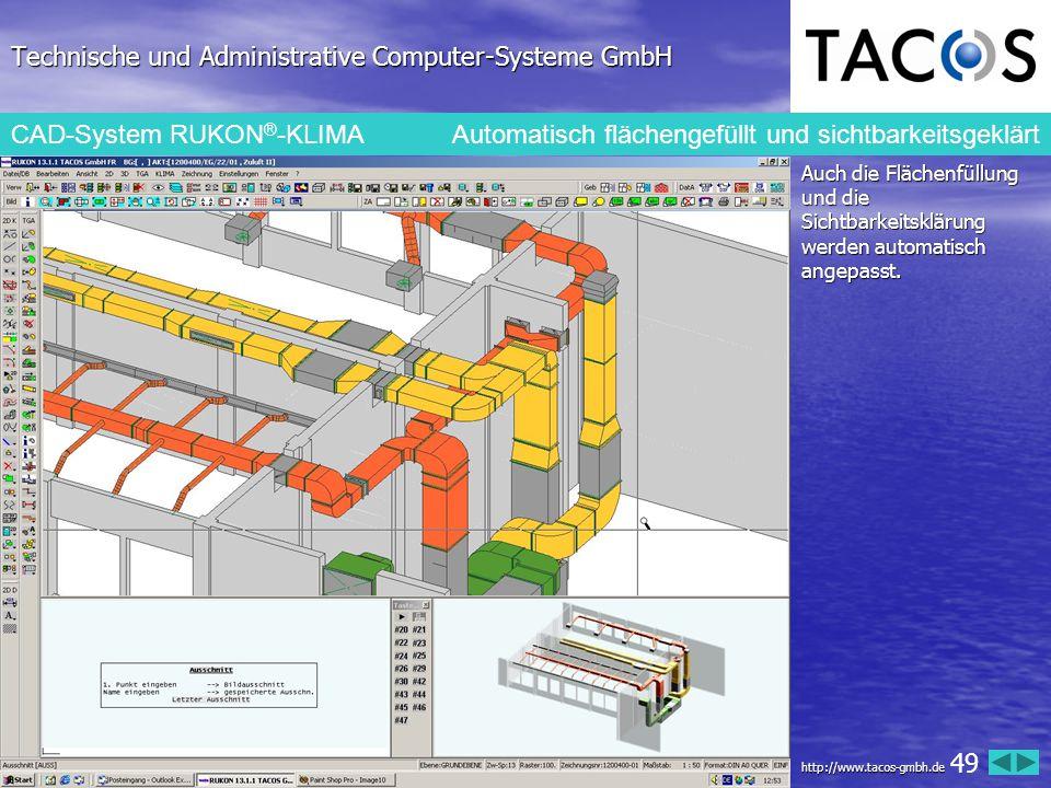 Technische und Administrative Computer-Systeme GmbH CAD-System RUKON ® -KLIMA Automatisch flächengefüllt und sichtbarkeitsgeklärt Auch die Flächenfüll