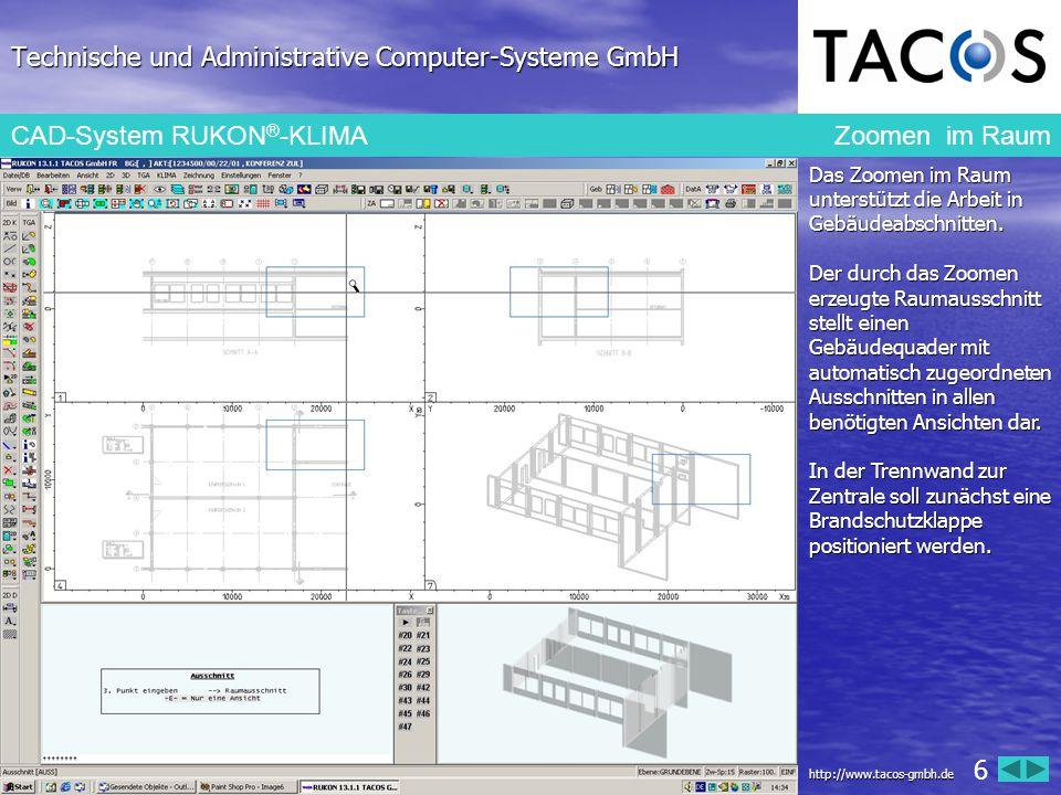 Technische und Administrative Computer-Systeme GmbH CAD-System RUKON ® -KLIMA Druckverlustberechnung: ungünstigster Strang Die integrierte Druckverlustberechnung ermittelt, wie hier angezeigt, den ungünstigsten Strang.