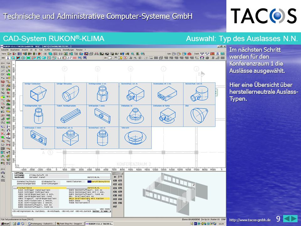 Technische und Administrative Computer-Systeme GmbH CAD-System RUKON ® -KLIMA Auswahl: Typ des Auslasses Trox Aus dem Hersteller- Katalog von Trox wird ein Drallauslass mit Anschlusskasten TYP RFD- R-A-M ausgewählt.