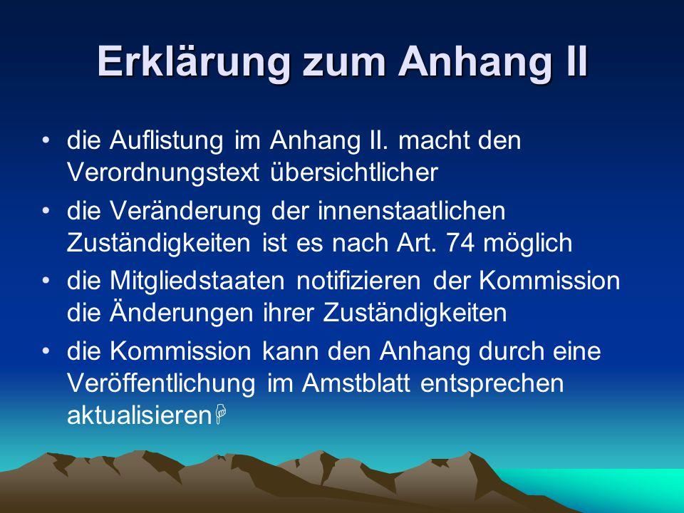 Erklärung zum Anhang II die Auflistung im Anhang II.