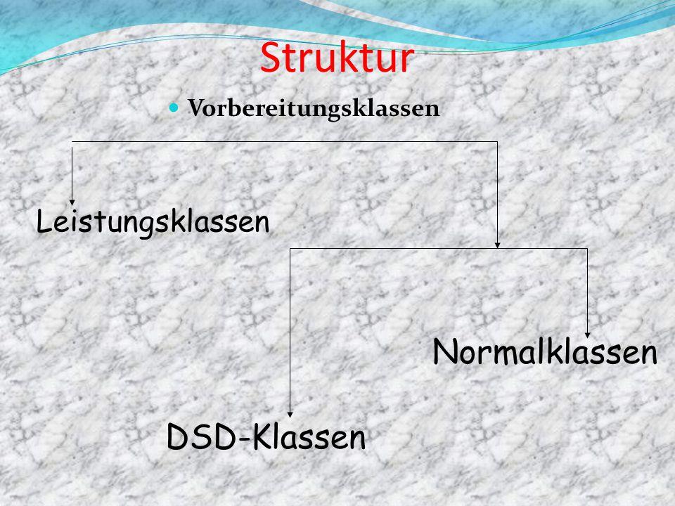 Struktur Vorbereitungsklassen Leistungsklassen DSD-Klassen Normalklassen