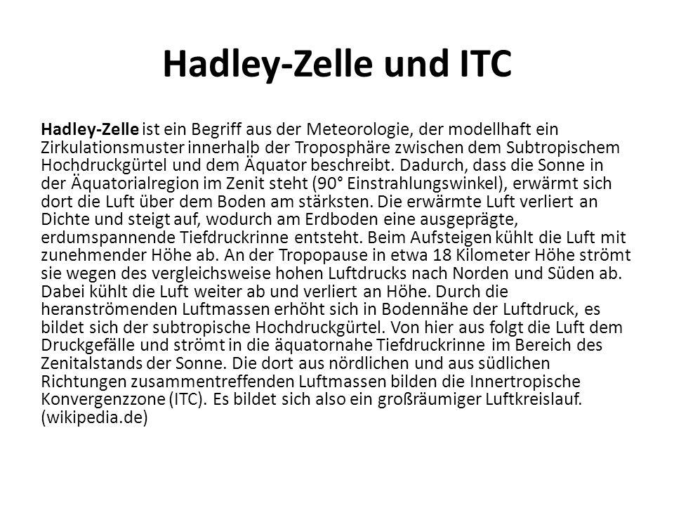 Hadley-Zelle und ITC Hadley-Zelle ist ein Begriff aus der Meteorologie, der modellhaft ein Zirkulationsmuster innerhalb der Troposphäre zwischen dem S