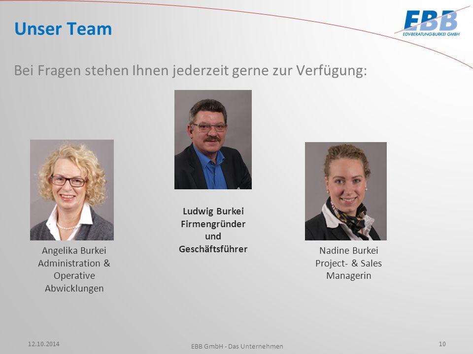 12.10.2014 EBB GmbH - Das Unternehmen 10 Unser Team Bei Fragen stehen Ihnen jederzeit gerne zur Verfügung: Angelika Burkei Administration & Operative