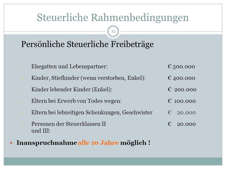 11 Steuerliche Rahmenbedingungen Persönliche Steuerliche Freibeträge Ehegatten und Lebenspartner: € 500.000 Kinder, Stiefkinder (wenn verstorben, Enke