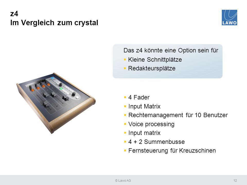 z4 Im Vergleich zum crystal 12  4 Fader  Input Matrix  Rechtemanagement für 10 Benutzer  Voice processing  Input matrix  4 + 2 Summenbusse  Fer
