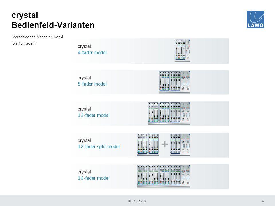crystal Bedienfeld-Varianten 4 Verschiedene Varianten von 4 bis 16 Fadern. © Lawo AG