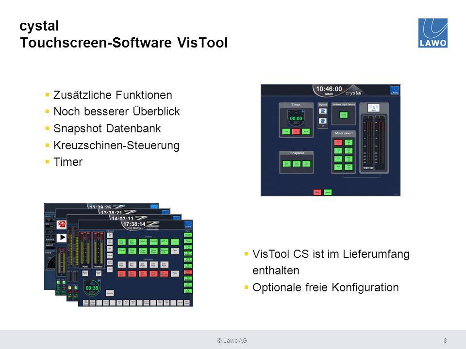 cystal Touchscreen-Software VisTool 8  Zusätzliche Funktionen  Noch besserer Überblick  Snapshot Datenbank  Kreuzschinen-Steuerung  Timer  VisTo