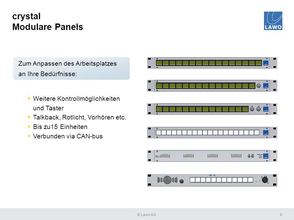 crystal Modulare Panels 9  Weitere Kontrollmöglichkeiten und Taster  Talkback, Rotlicht, Vorhören etc.  Bis zu15 Einheiten  Verbunden via CAN-bus