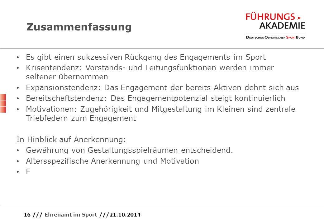 16 /// Ehrenamt im Sport ///21.10.2014 Zusammenfassung Es gibt einen sukzessiven Rückgang des Engagements im Sport Krisentendenz: Vorstands- und Leitu