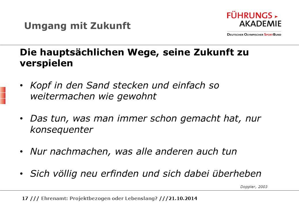 17 /// Ehrenamt: Projektbezogen oder Lebenslang? ///21.10.2014 Die hauptsächlichen Wege, seine Zukunft zu verspielen Kopf in den Sand stecken und einf